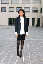 navy thrifted blazer - white thrifted blouse