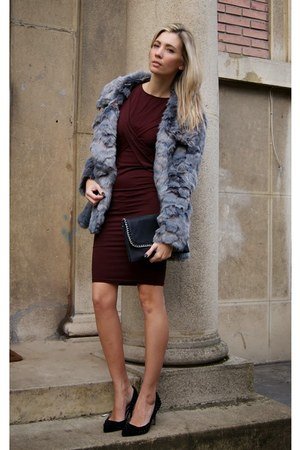 periwinkle Urbancode coat - brick red TFNC LONDON dress - black Goddiva heels