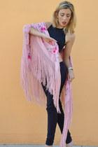 navy asos top - pink mantn de maniela scarf - navy Zara pants