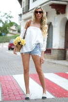 white romwe top - ivory shoes - mustard bag - blue Levis shorts