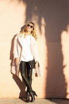 black romwe pants - bubble gum H&M coat - bronze zeroUV sunglasses