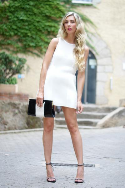 black loewe bag - ivory q2 dress - charcoal gray Zara heels