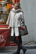 black Zara boots - gray Louis Vuitton bag - off white H&M cape