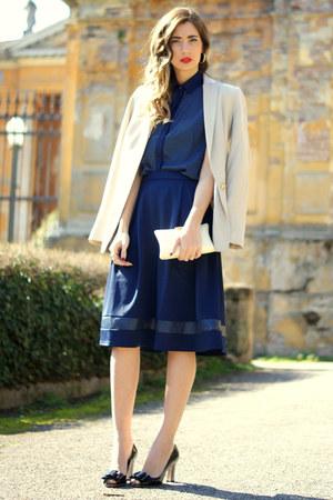 navy Poppy Lux blouse - navy Poppy Lux skirt