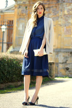 navy Poppy Lux blouse - navy Poppy Lux skirt