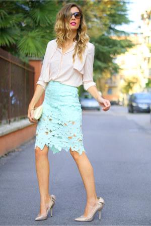 peach tbdress blouse - nude Menbur shoes - brown sunglassjunkie sunglasses