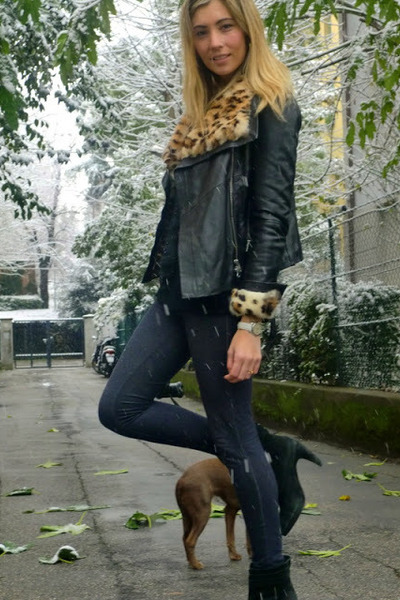 brown All Saints jacket - black Zara boots - navy Topshop jeans