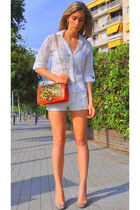 red PERSUNMALL bag - white Bershka shorts