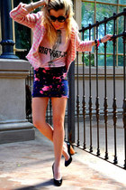 navy Topshop skirt - bubble gum Zara blazer - black Zara sunglasses