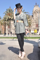 vintage hat - Japanese Kimono dress - Zara leggings - Bimba y Lola heels