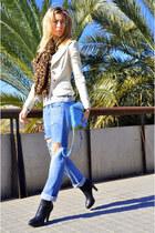 black Zara boots - turquoise blue Fornarina jeans - white Mango blazer