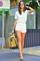 white Zlz suit - camel loewe bag - brown Zara heels