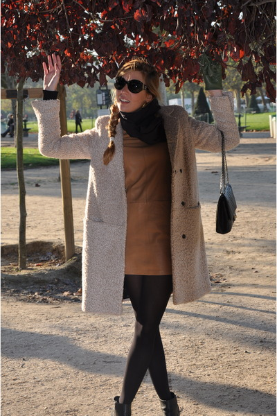periwinkle H&M coat - burnt orange H&M dress - black Chanel bag