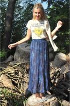 vintage skirt - Zara blazer - Urban Outfitters t-shirt - BLANCO flats