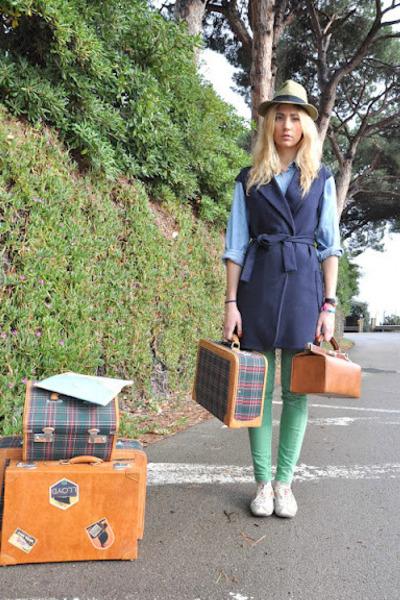 teal vintage shirt - chartreuse Bershka jeans - olive green Misako hat
