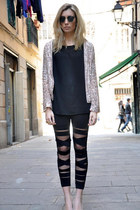 black OASAP leggings - pink Zara blazer - brown Ray Ban sunglasses