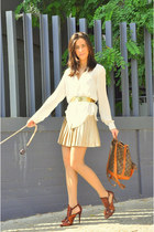 white Zara skirt - brown Louis Vuitton bag - gold vintage belt
