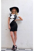 black Zara hat - white ella delor dress - black Zara heels