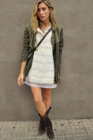 brown Zara boots - ivory Stradivarius dress - army green Zara coat