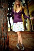white mir jeans skirt - light brown unkown socks - magenta Mango jumper