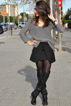 black Zara skirt - black Zara boots - heather gray Zara jumper