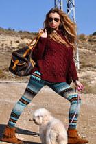 brick red Zara jumper - brown Minnetonka boots - aquamarine H&M leggings