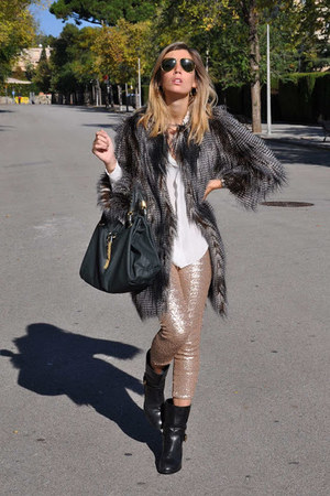 gray Zara coat - black carshoe boots - gold Zara leggings - ivory Zara shirt