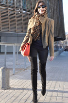 red Chanel bag - dark gray Zara boots - dark green Topshop coat