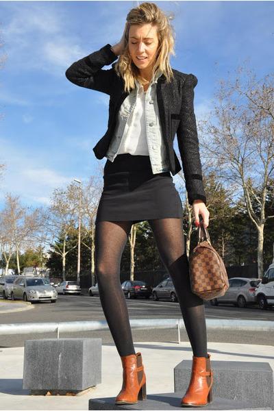 dark brown Topshop boots - black Topshop blazer - white Zara shirt