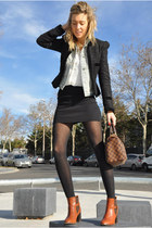 dark brown Topshop boots - black Topshop blazer - white Zara shirt