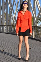 carrot orange Zara blouse - black American Apparel skirt