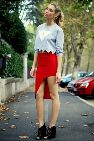 red rummageraquecom skirt - silver romwe sweater