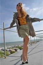 silver vintage coat - white Ray Ban sunglasses - light orange La Perla bodysuit