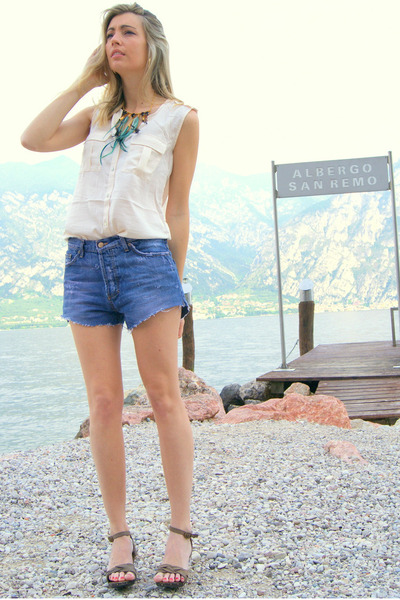 DIY shorts - H&M blouse - Mango wedges