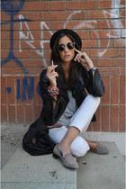 black H&M hat - black Zara jacket - black longchamp bag