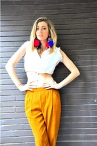 red DIY earrings - bronze Zara pants