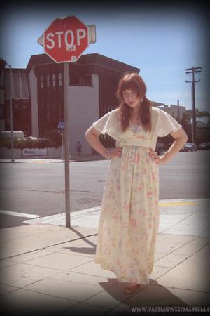 off white floral vintage dress