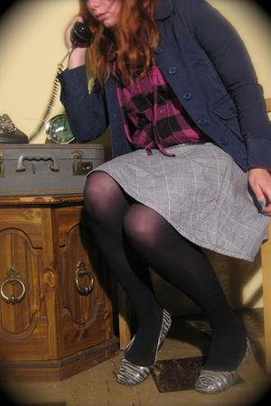 blue H&M blazer - purple Vixen jacket - gray Wet Seal skirt - black Target tight
