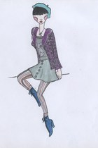 purple daisy print blazer - silver t-shirt - army green skirt