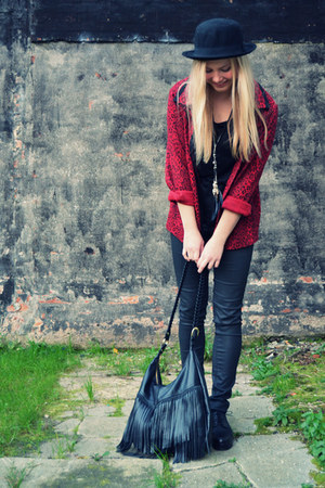 brick red vintage blazer - black platforms COS shoes - black bowler hat H&M hat