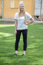 white silk own design t-shirt - black H&M pants - black Marni x H&M sandals