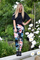 black vintage t-shirt - H&M Trend pants - black Aldo wedges