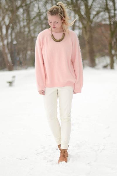 light pink H&M blouse - white H&M pants - camel Shoe shi bar wedges