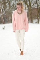 light pink H&M blouse - white H&M pants - camel Shoe shi bar wedges