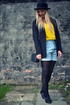 bowler hat H&M hat - Chanel bag - denim shorts vintage shorts - H&M flats