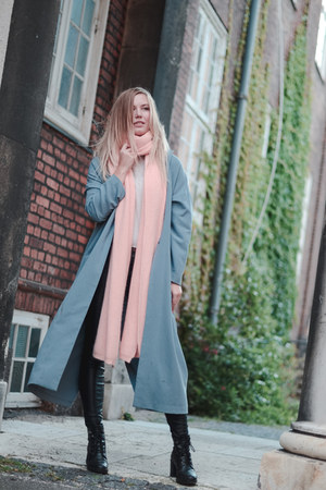 duster coat asos jacket - periwinkle angora scarf - light pink MUNTHE scarf