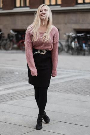 black Savannah shoes - bubble gum H&M sweater - black H&M skirt