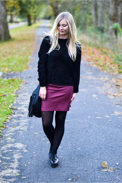 maroon H&M skirt - black COS shoes - black Weekday Collection blouse