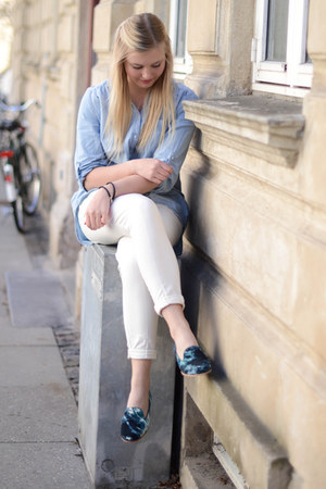 blue & other stories loafers - light blue H&M shirt - white H&M pants