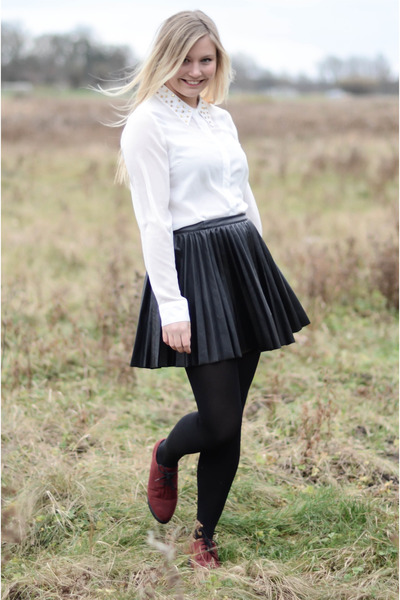 black H&M skirt - brick red H&M shoes - white Vero Moda shirt